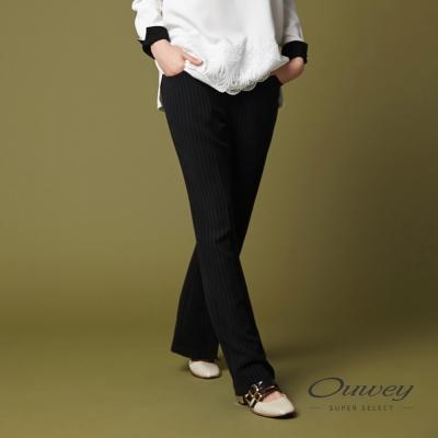 OUWEY歐薇 都會簡約條紋西裝褲(黑)-動態show