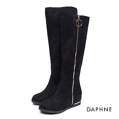 達芙妮DAPHNE 長靴-金屬色飾條圓環拉鍊過膝絨布平底長靴-黑