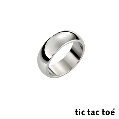 tic tac toe 素面白鋼男尾戒(寬)