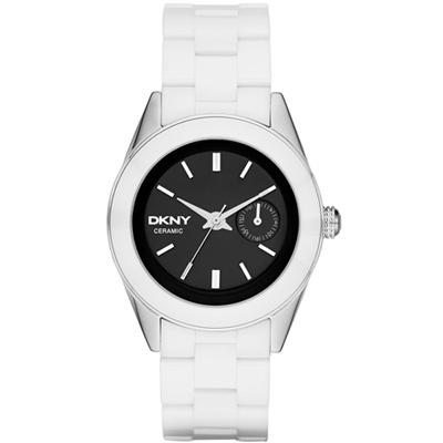 DKNY 永恆時尚都會陶瓷腕錶-黑x白陶瓷/36mm