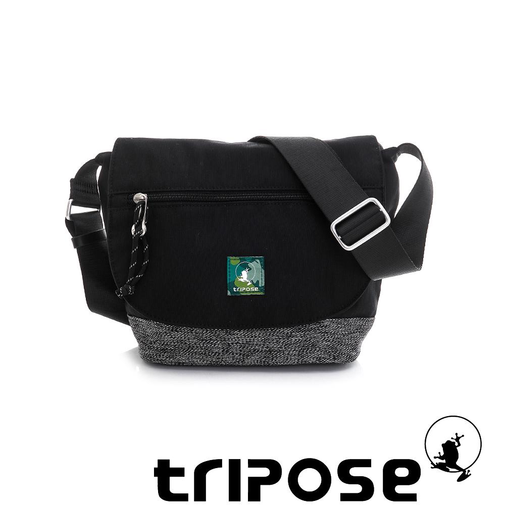 tripose 微旅輕量岩紋配色防潑水郵差包 黑
