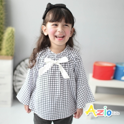 Azio Kids 童裝-上衣 格子喇叭袖傘擺長袖上衣(白)
