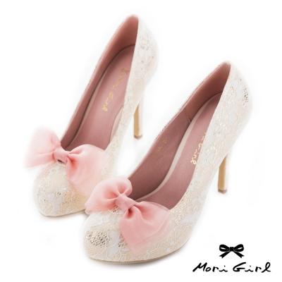 Mori girl 2way可拆式蝴蝶結蕾絲高跟婚鞋 淺金
