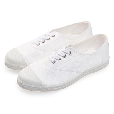 (女)Natural World 西班牙休閒鞋 花朵印花4孔基本款*白色