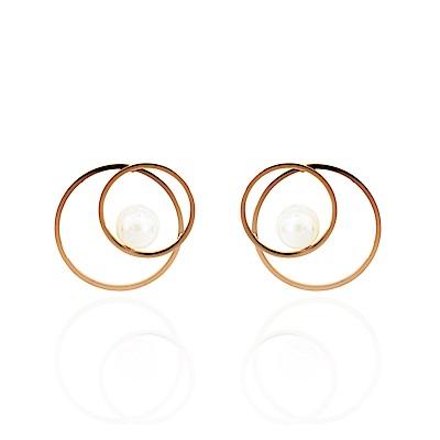 正韓 鋼針 鋼飾 時尚雙環交錯 鑲珍珠 人造珍珠 簡約 微醺.禮物