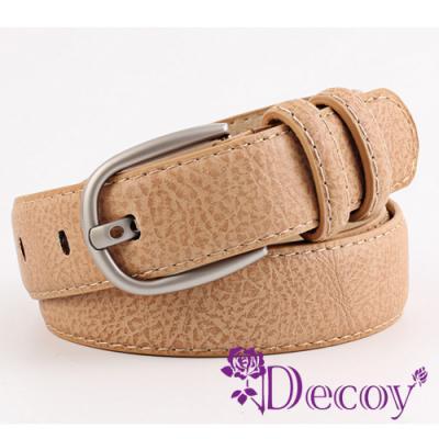 Decoy 鏤空銀扣 厚質粗皮革皮帶 三色可選