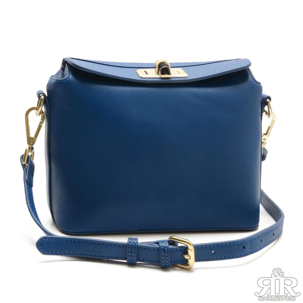2R 酷馳羊皮Alice時尚轉釦包 皇家藍