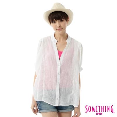 SOMETHING V領開襟寬袖襯衫-女-白色