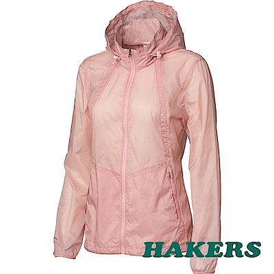 【HAKERS】女-輕透感防潑口袋衣-素-粉紅色