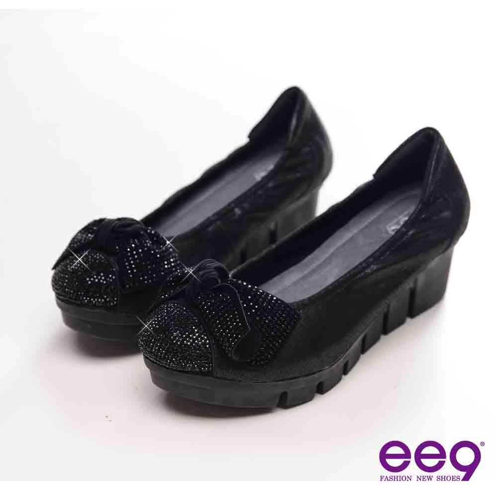 ee9 閃動造型~蝴蝶結水鑽金屬皮革厚底造型娃娃鞋~閃耀黑