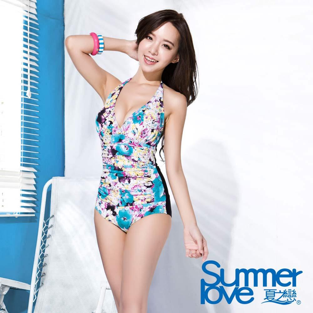 夏之戀SUMMERLOVE 比基尼泳裝 連身三角泳衣 V領 花朵圖騰