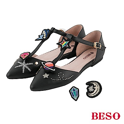 BESO 玩味炫彩 可拆式個性閃耀平底鞋~黑