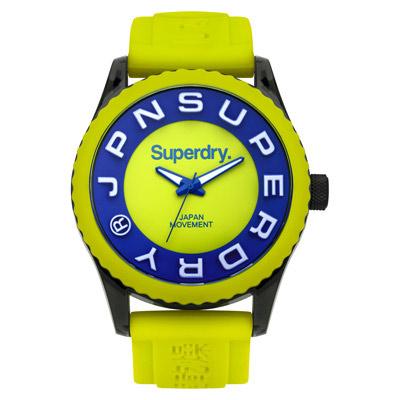 Superdry 極度乾燥 搶色視覺 矽膠 運動腕錶-螢光綠帶/螢光綠面/45mm