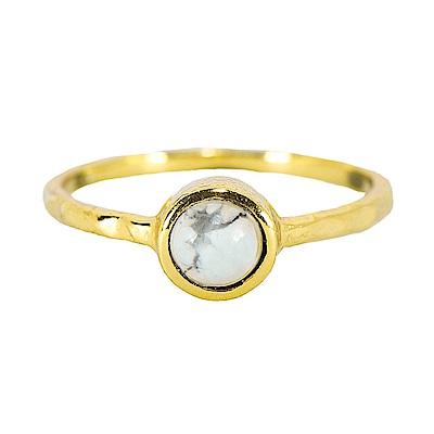 Pura Vida美國手工波西米亞風礦石純銀鍍金戒指