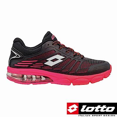LOTTO 義大利 女 PHOENIX KPU氣墊跑鞋 (黑/桃)