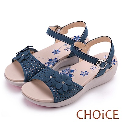 CHOiCE 親膚涼爽春意 牛皮花朵點綴洞洞厚底涼鞋-藍色
