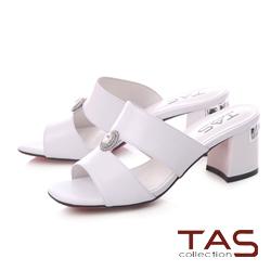 TAS 水鑽鏤空粗跟涼拖鞋