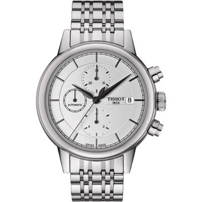 TISSOT CARSON 尊爵時尚三眼計時機械腕錶-銀/42mm