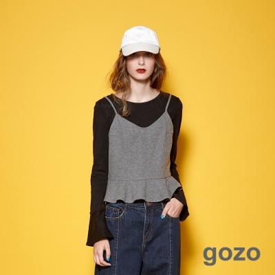gozo-簡約素面布標造型喇叭袖上衣-共2色-動態