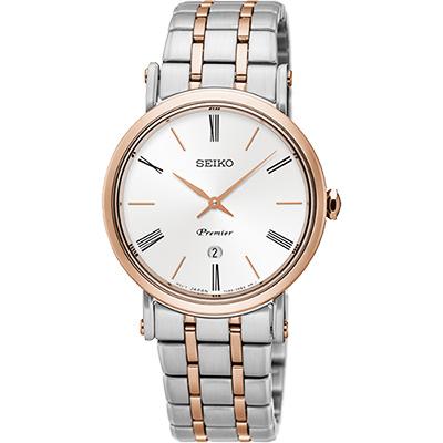 SEIKO 精工 Premier 系列超薄石英女錶(SXB430J1)-銀x雙色/30mm