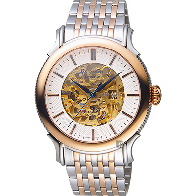 RHYTHM日本麗聲 Dynasty鏤空機械錶-玫瑰金框/43mm A1510S03