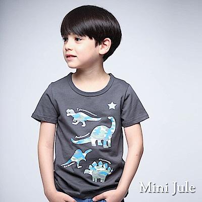 Mini Jule 童裝-上衣 迷彩恐龍棉質短袖T恤(深灰)