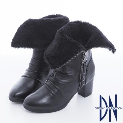 DN 潮流魅力 2WAY質感羊皮絨毛反折個性靴款 黑