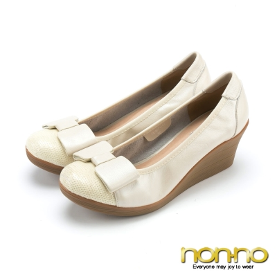 nonno-氣質公主-楔型娃娃鞋-米