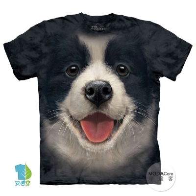 摩達客 美國進口The Mountain  小邊境牧羊犬微笑 短袖T恤