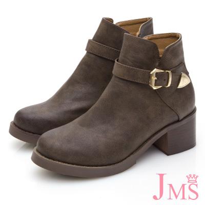 JMS-品味魅力素面皮帶金屬扣飾短靴-咖啡色