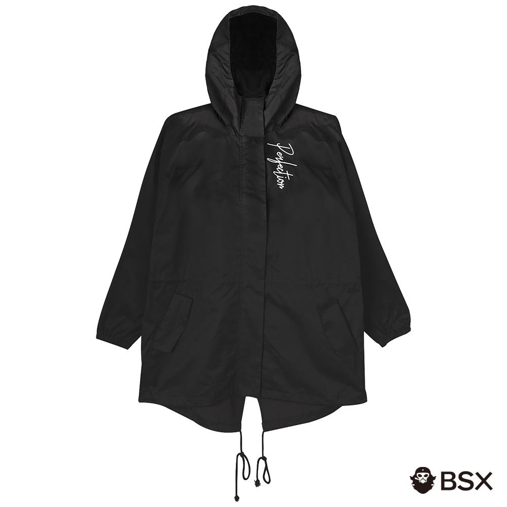 BSX 女裝蜜桃絨連帽外套-09 黑色