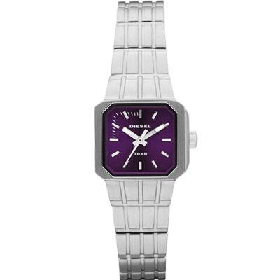 DIESEL 龐克搖滾女孩時尚腕錶-搖滾紫/33mm