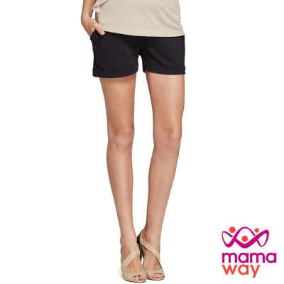 孕婦褲-短褲-孕期彈力羅馬短褲-共二色-Mamaw