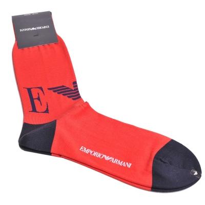 EMPORIO ARMANI EA大鷹圖騰LOGO紅黑配色紳士襪(紅)
