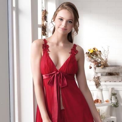 羅絲美睡衣 - 危險誘惑性感洋裝睡衣(熱情紅)
