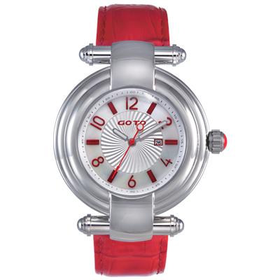 GOTO 個性丰采時尚腕錶-紅/ 41 mm