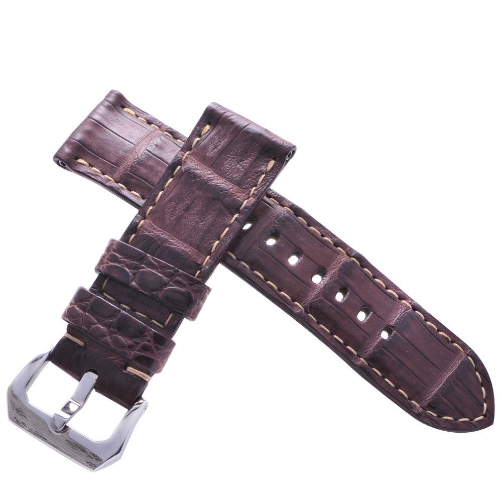 TED SU 太和錶帶 雄霸天下Panerai 沛納海代用帶深咖啡鱷魚米色線-24*24