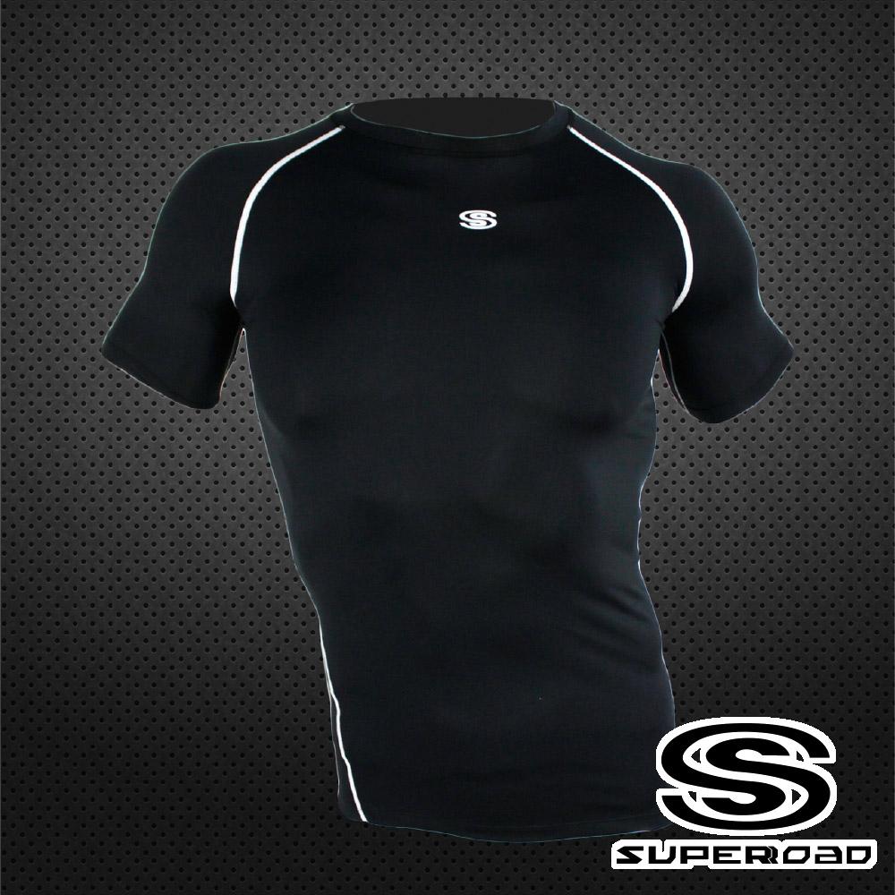 SUPEROAD SPORTS 涼感速乾 專業機能運動短袖緊身衣 黑色