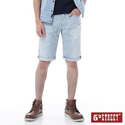 5th STREET 經典微刷破牛仔短褲-男-重漂藍