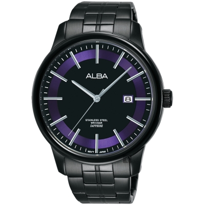 ALBA雅柏 七夕情人限定時尚男錶(AS9D91X1)-鍍黑x紫圈/42mm