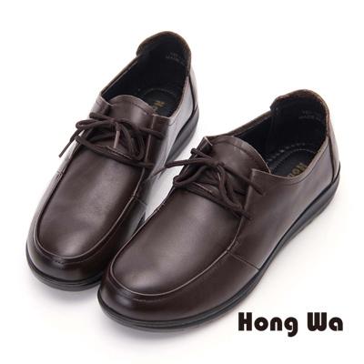 Hong Wa 柔軟牛皮綁帶舒適包鞋- 咖