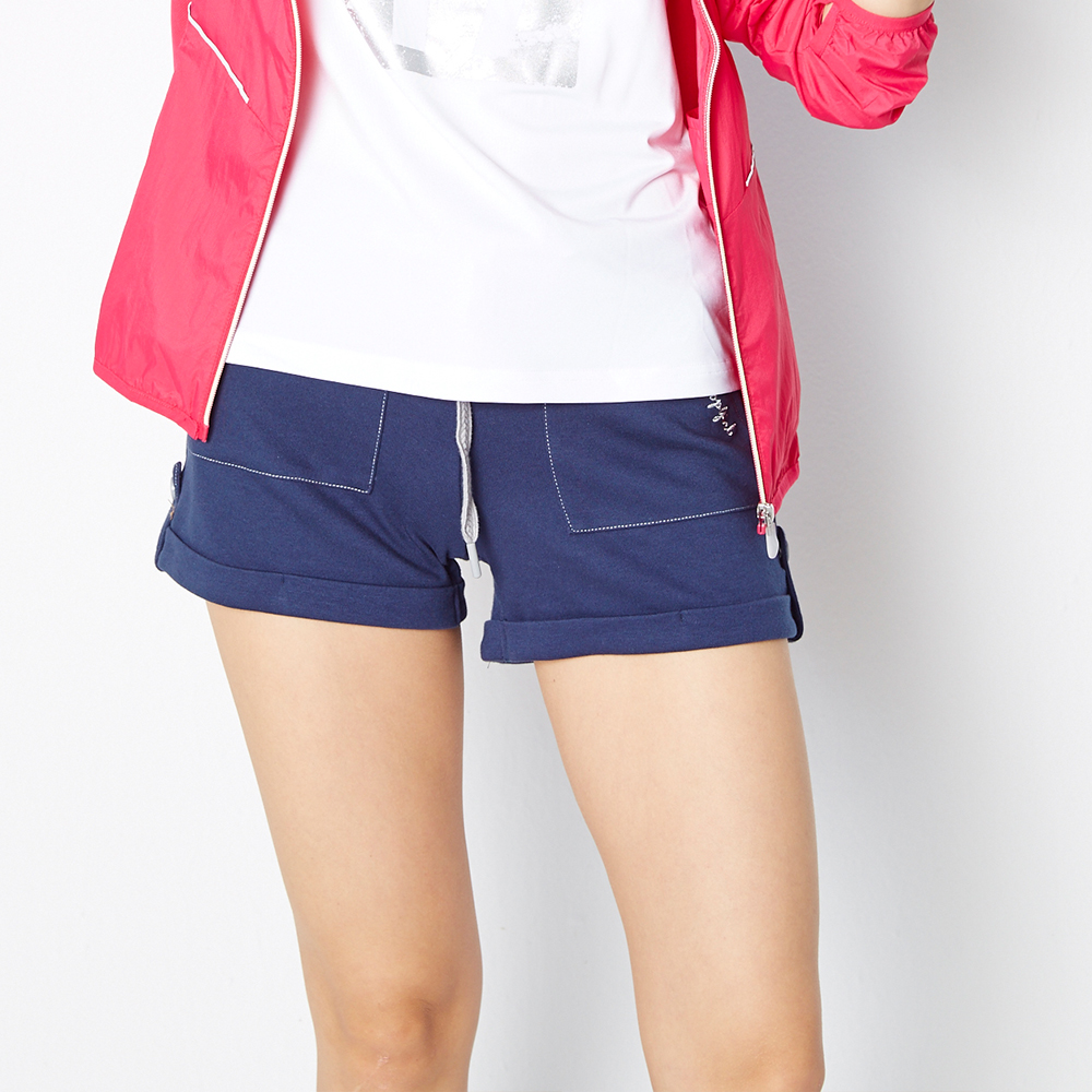 TOP GIRL 休閒抽繩棉針織反摺短褲-深藍