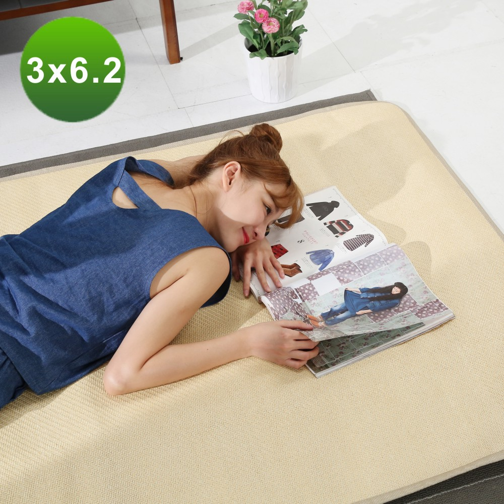 BuyJM天然仿藤涼蓆竹蓆單人3X6.2尺(附鬆緊帶)-免組
