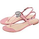 TORY BURCH Liana 鑽飾盾牌牛皮夾腳涼鞋(粉色)