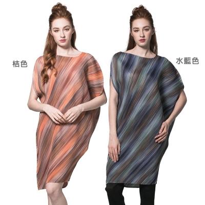 時尚寬鬆短袖壓摺連衣裙(共二色)-玩美衣櫃