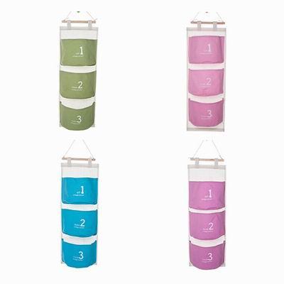 iSFun 繽紛圓筒 數字3格收納掛袋 四色可選58x20cm