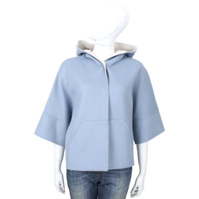 Max Mara-WEEKEND 水藍色雙面穿連帽七分袖羊毛外套