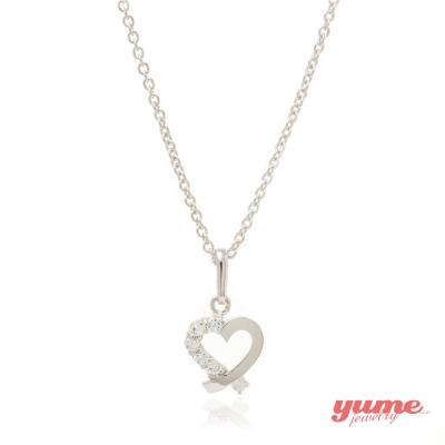 YUME K金緞帶愛心晶鑽項鍊