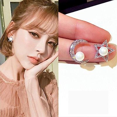 梨花HaNA 韓國925銀星和月的光影珍珠皓石耳環