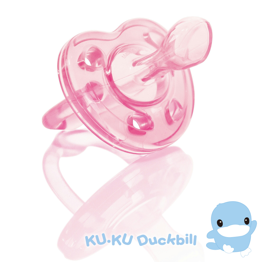 KU.KU酷咕鴨-馬卡龍全矽膠安撫奶嘴(蜜桃粉/藍莓紫)二色可選-0M 初生